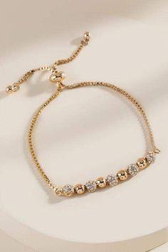 francesca's Anika Pave Crystal Pull Tie Bracelet – Gold Diamond Bracelets, Ankle Bracelets, Sterling Silver Bracelets, Jewelry Bracelets, Fashion Bracelets, Braclets Gold, Fashion Jewelry, Beach Bracelets, Sterling Jewelry