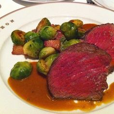 "Snake River Farms ""Eye Of The Rib"" Sous Vide, Brussels Sprouts With Bacon Lardons @ Bouchon"