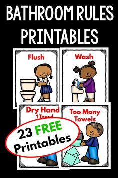 I love these FREE bathroom rules printables. They are perfect for my students. They are great to hang outside a bathroom, put on a bulletin board or even create a book so the kids learn their bathroom etiquette! Preschool Rules, Preschool Learning, Preschool Activities, Preschool Bulletin, Preschool Printables, Free Printables, Beginning Of The School Year, First Day Of School, Pre School