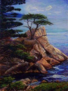 """"""" THE LONE CYPRESS """" Create from a vacation picture I took in 04 on Pebble Beach California`s , 17 Mile Dr.  ,  http://www.picturetrail.com/mulatto"""