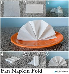 Paper Napkin Folding & Fancy Napkin Folds Standing Fan Napkin Fold paper paper napkins paper to the moon Origami, Fancy Napkin Folding, Paper Folding, Thanksgiving Napkin Folds, How To Fold Towels, Towel Crafts, Deco Table, Decoration Table, Paper Napkins