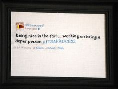 :)  Maybe you should start making these for people :)  #itsaprocess Love it!  Embroidered Kanye West Tweets by Supervelma | Regretsy