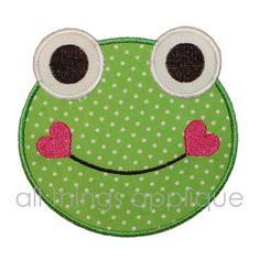 Smiling Frog Machine Embroidery Applique Design. $4.00, via Etsy.