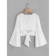 Flare Sleeve Bow Tie Back Blouse -SheIn(Sheinside) Girls Fashion Clothes, Teen Fashion Outfits, Girl Fashion, Fashion Dresses, Fashion Design, Formal Dress Patterns, Dress Sewing Patterns, Dress Outfits, Casual Dresses