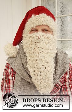 Santa's beard hat and scarf free knit pattern by DROPS design