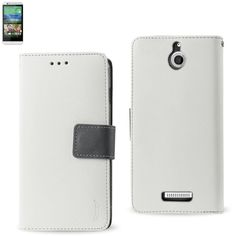 Reiko Wallet Case 3 In 1 For HTC Desire 510 White With Gray Interior Leather-Like Material And Polymer Cover