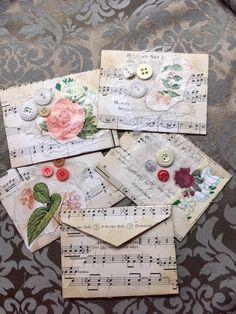 Envelope botanical floral vintage music book page junk journal embellishmen Junk Journal, Journal Cards, Journal Diary, Sheet Music Crafts, Book Page Crafts, Art Carte, Floral Vintage, How To Make An Envelope, Envelope Art