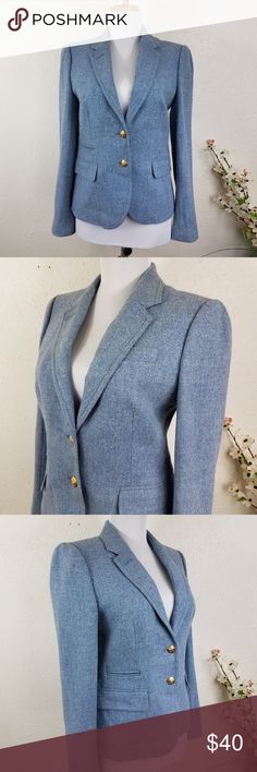 """J. Crew Schoolboy Blazer Light Blue Wool Sz 4 100% Wool Fully lined  Approximate measurements- Bust: 17"""" pit to pit Waist: about 16"""" Shoulder to shoulder: 15"""" Length: about 24""""  Excellent pre-owned condition, no flaws Fast shipping! J. Crew Jackets & Coats Blazers"""