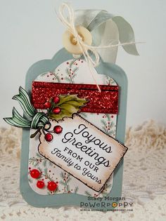 A celebration of the essential ingredient of Christmas cheer: Holly! Done up three ways for a multitude of cardmaking options. Will you go with the hollyberry branch, used as a focal point, a bough, o