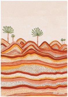 Contoured Lands~ Australian illustrator and graphic designer, Karina Jambrak, creates hand drawn illustrations based on nature's colours and patterns. Illustrator, Colorful Artwork, Aboriginal Art, Australian Artists, Fine Arts College, Land Art, Wall Collage, Wall Prints, Fine Art Paper