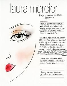 Episode 6: The Laura Mercier face chart of the winning soft makeup look from last night's episode. Repin and try it.