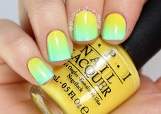 Yellow and green light gradient nails