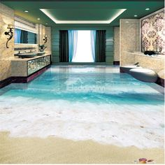 3D Simple and Clear Sea Water Pattern Waterproof Nonslip Self-Adhesive Blue Floor Art Murals