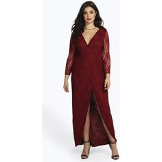 Boohoo Plus Plus Natalie Lace Wrap Front Maxi Dress ($40) ❤ liked on Polyvore featuring dresses, wine, red lace dress, mini party dress, wine maxi dress, lace dress and holiday party dresses