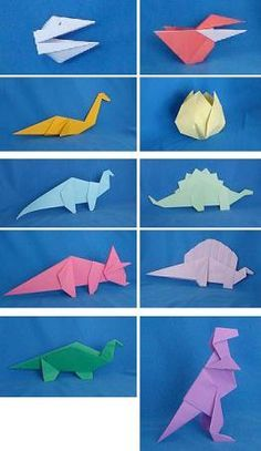 Paper Dinosaurs by Alan Folder is a cute little origami book with relatively eas. Paper Dinosaurs by Alan Folder is a cute little origami book with relatively easy models which do a Origami Simple, Cute Origami, Diy Origami, Origami Tutorial, Origami Paper, Diy Paper, Paper Crafting, Origami Instructions, Origami Books