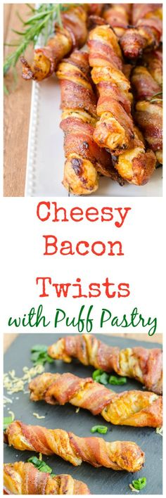 Cheesy Bacon Twists with Puff Pastry - Puff pastry dough gets stuffed with cheese, herbs, and other goodies, then wrapped in bacon and baked.  SO easy, and it's good hot or room temperature!  Perfect for game day or parties!