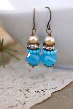 Sarah. petite, vintage style, rhinestone, blue beaded, pearl drop earrings. Tiedupmemories