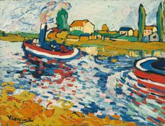 Tugboat on the Seine by Maurice de Vlaminck (French Fauvism 1876–1958)