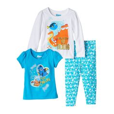 Disney / Pixar Finding Dory Toddlers Girl Short Sleeve & Long Sleeve Tee & Leggings Set, Size: 2T, Turquoise/Blue (Turq/Aqua)