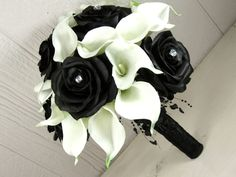 Dramatic Black Rose and White Calla Lily Bridal Bouquet. @Cathy Cain