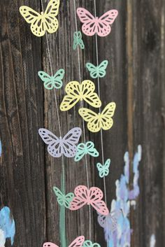 Spring Pastel Butterflies Paper Garland - Easter, Baby Shower, Party Decorations. $5.00, via Etsy.