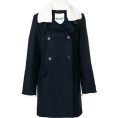 Kenzo double breasted coat (13.456.370 IDR) ❤ liked on Polyvore featuring outerwear, coats, blue, shearling lined coat, kenzo, collar coat, double breasted coat and double breasted leather coat