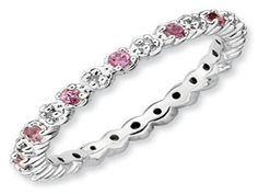 .925 Silver Stackable Pink Tourmaline Eternity Diamond Ring Band (Online at Gemologica.com)