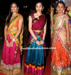 Teenagers in Half Sarees – South India Fashion Half Saree Lehenga, Kids Lehenga, Sari, Lehenga Blouse, Churidar Designs, Lehenga Designs, Saree Blouse Designs, Indian Skirt, Indian Dresses