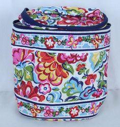 VERA BRADLEY HOPE GARDEN Round Oval Cosmetic Travel Bag Plastic Lined  #VeraBradley