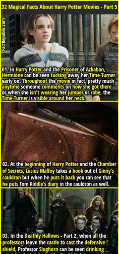 01. In Harry Potter and the Prisoner of Azkaban, Hermione can be seen tucking away her Time-Turner early on. Throughout the movie in fact, pretty much anytime someone comments on how she got there or when she isn't wearing her jumper or robe, the Time-Turner is visible around her neck.