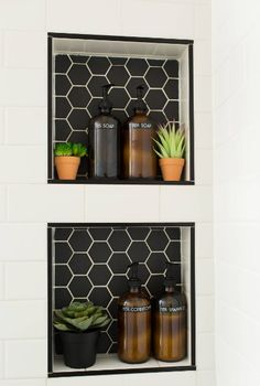 Alameda Black 2 Matte Hexagon Mosaics Paired with Snow White Gloss Ceramic Subway Tiles Bathroom Tile Designs, Bathroom Renos, Bathroom Interior Design, Hexagon Tile Bathroom, Eclectic Bathroom, Black Hexagon Tile, White Subway Tile Bathroom, Black Subway Tiles, Black White Bathrooms