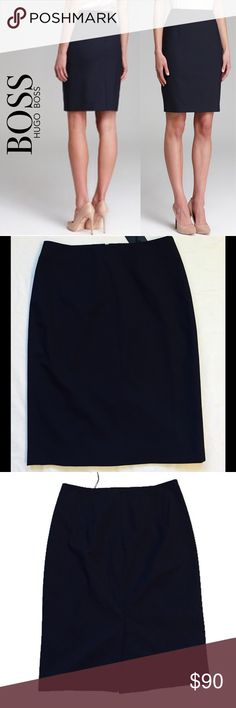 Boss Hugo Boss Pinstripe Pencil Skirt 🆕 Classic pinstripe lends a dash of menswear aplomb to a polished navy pencil skirt impeccably tailored from stretch-infused wool. Brand: BOSS. Style Name: BOSS 'Vilina' Pencil Skirt. Color: Navy. Hidden back-zip closure; Stretch-cupro lining; 96% wool, 4% elastane; Dry clean. Pair it with the blue Calvin Klein button down in my closet for a classic work outfit. Hugo Boss Skirts Pencil