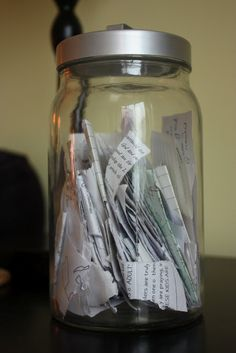 "Manna Jar: Every time God provides for your family, write down the date and a quick note describing what he has done and add it to your ""manna jar."" (Exodus 16:31-33) Thanks to Kayla for this idea!"
