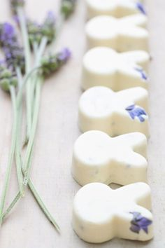 A simple 3-step recipe for white chocolate lavender bunnies.