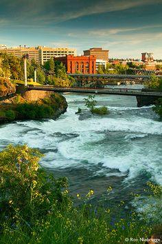 Waterfalls along the Spokane River and Riverfront Park, Spokane, Washington