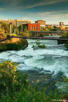 Waterfalls along the Spokane River and Riverfront Park, Spokane, Washington