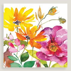 Bright botanicals in warm yellows and pinks give our canvas wall art its fresh, effortless appeal.