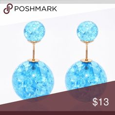 "🆕 Light Blue ""Crackled"" Double Ball Stud Earrings These super cute double ball stud earrings feature a light blue color and a crackle design. Unique! Limited Quantities! Bundle & Save! jmeyersray Jewelry Earrings"