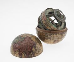 Pocket globe from the early 18th century, measuring 7 cm in diameter. Interesting article.