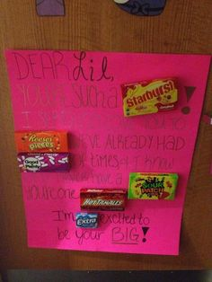 I wish we could do like sororities & know before hand & gift out littles along the week. Too cute!