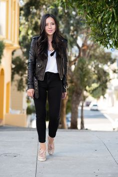 Black leather moto jacket and gold glitter sneakers. #bloggerfavorites #outfit #inspiration