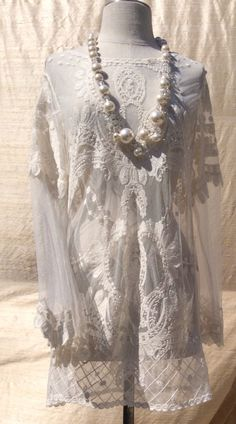 AAOK Lace Blouse Lace Wedding Dress Romantic Crochet by KisKissay
