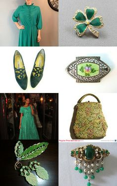 Dress me in GREEN  - A VINTAGE VOGUE TEAM Treasury by Ann on Etsy--Pinned with TreasuryPin.com