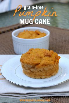 This ultra quick and super healthy grain-free pumpkin mug cake recipe is so easy that you'll never have to squelch that pumpkin bread craving again! via @thesoftlanding