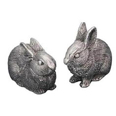 The Bunny Salt and Pepper Shaker set by Michael Michaud features two sculptures of adorable pygmy bunnies that also are functional salt and pepper shakers.