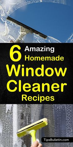 Make your own streak free homemade window and glass cleaner. Includes six DIY cleaning recipes for cleaning solutions based on ammonia, vinegar, cornstarch and lemon juice. Perfect for heavy duty natural cleaning of interior and exterior windows and glass.#windowcleaning #window #cleaner
