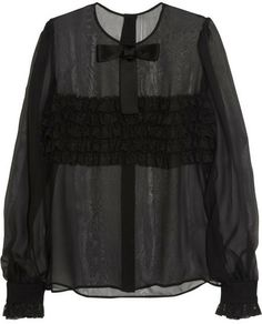 798ffe49a3988 Dolce  amp  Gabbana Lace-ruffled silk-blend blouse on shopstyle.com Frill