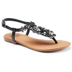 SO® Women's Floral T-Strap Sandals