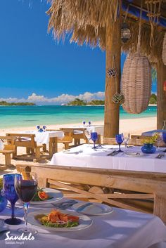 Beachside dining at Sandals Negril, Jamaica.