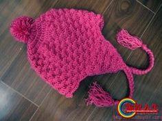 Pink Earflap Hat free crochet graph pattern